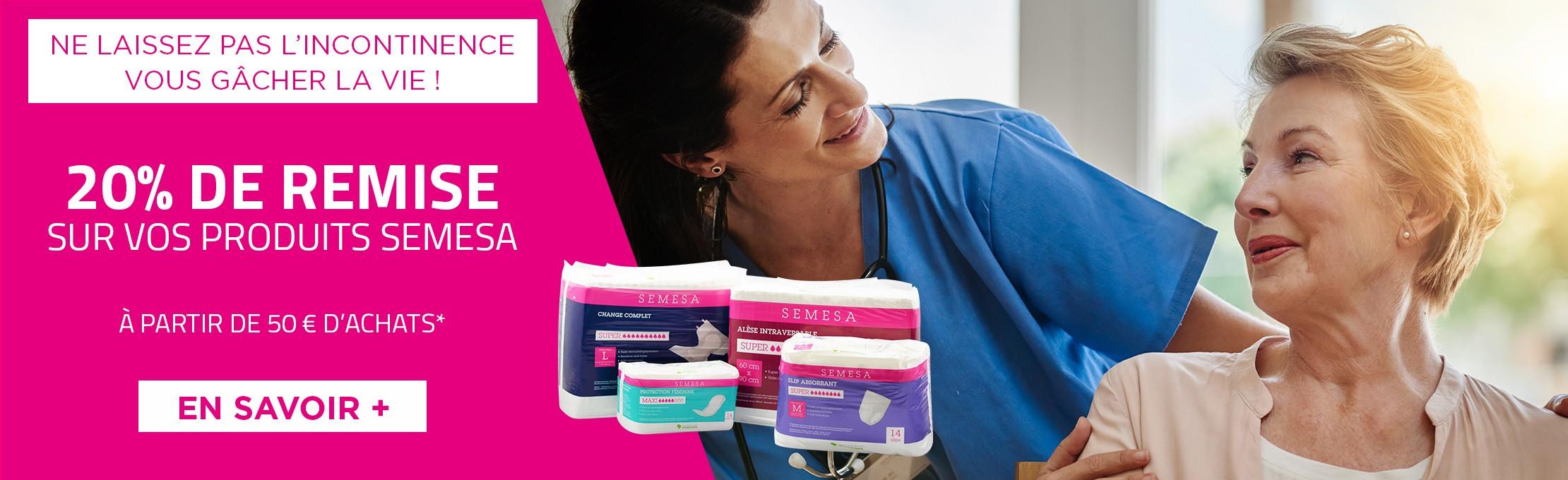 En ce moment, bénéficiez de 20% de remise à partir de 50€ d'achats sur nos produits incontinence SEMESA