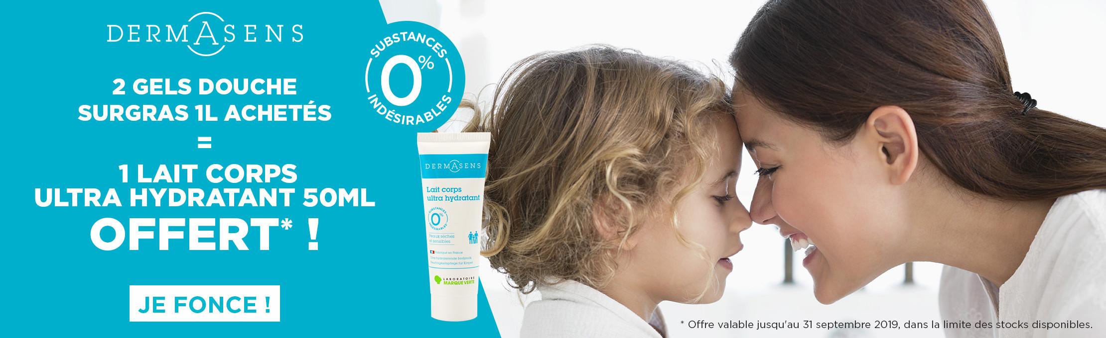 2 gels douche surgras Dermasens achetés = 1 lait corps hydratant 50ml en cadeau !